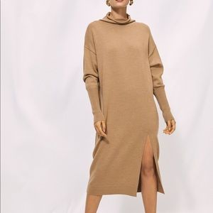 Aritzia Wilfred Cyprie Camel Knit Dress - Size S